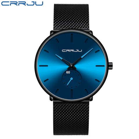 CRRJU 2150 Men's Sapphire Quartz Watch With Stainless Steel Mesh Strap