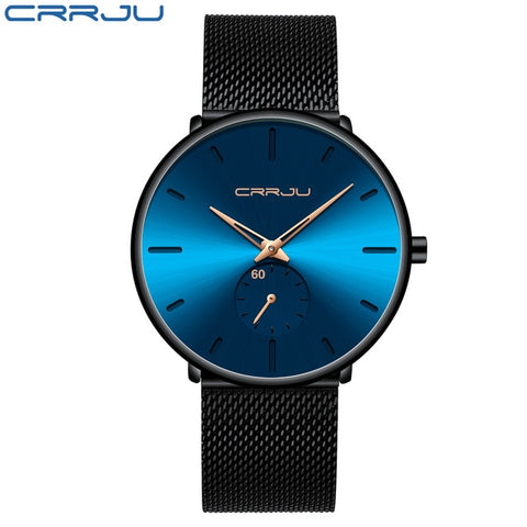 CRRJU 2150 Men's Pure Blue Quartz Watch With Stainless Steel Mesh Strap