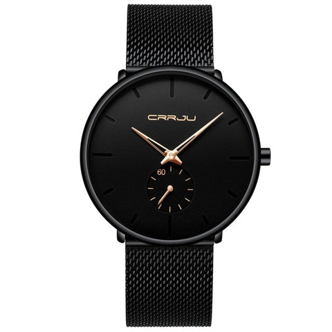 CRRJU 2150 Men's Black Rose Quartz Watch With Stainless Steel Mesh Strap