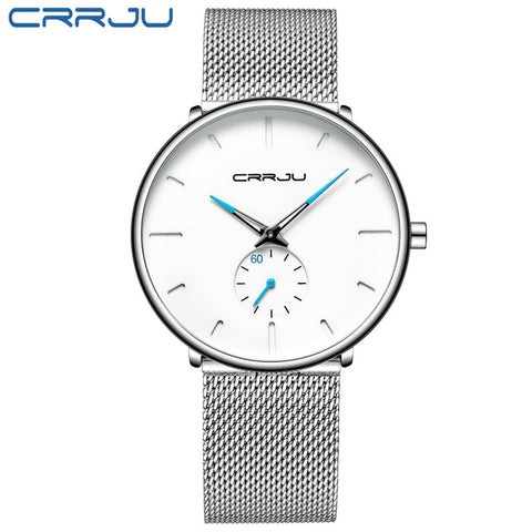 CRRJU 2150 Men's Silver Sea Quartz Watch With Stainless Steel Mesh Strap
