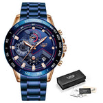 LIGE XV Men's Pure Blue Stainless Steel Watches With Shock Force Strap