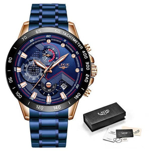 LIGE XV Men's Black Blue Stainless Steel Watches With Shock Force Strap