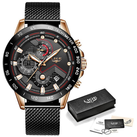 LIGE XV Men's Rose Gold Black Stainless Steel Watches With Shock Force Strap