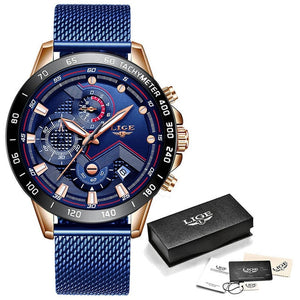 LIGE XV Men's Rose Gold Blue Stainless Steel Watches With Shock Force Strap