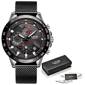 LIGE XV Men's Silver Black Stainless Steel Watches With Shock Force Strap