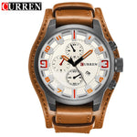 CURREN Men's White Brown Business Quartz Watch