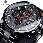 Forsining Men's Black Three Dial Calendar Stainless Steel Watch