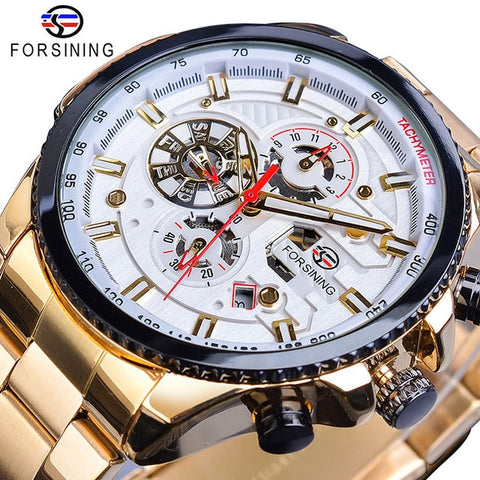 Forsining Men's Gold & White Three Dial Calendar Stainless Steel Watch