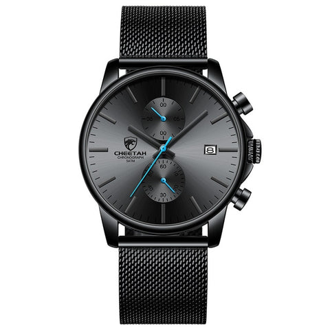CHEETAH Men's Mesh Black Blue Waterproof Business Watch