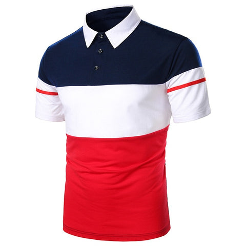 ZHELIN Men's Blue & Red Contrast Polo Shirt
