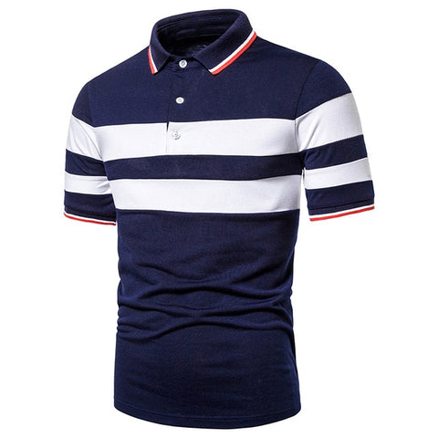 ZHELIN Men's White & Blue Contrast Polo Shirt