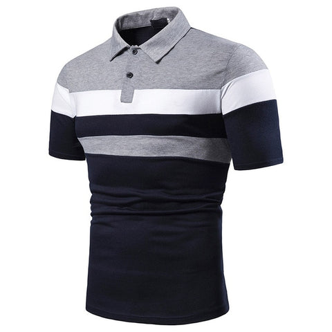 ZHELIN Men's Gray Blue Contrast Polo Shirt