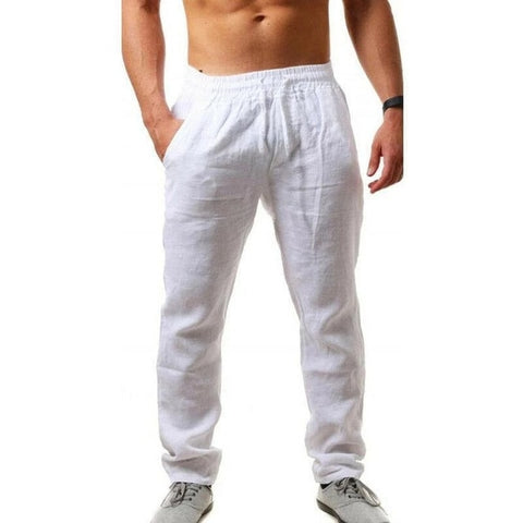 VEAKER Men's White Cotton Summer Pants