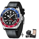 PAGANI DESIGN Men's Blue & Red Sapphire Glass Automatic Watch