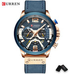 CURREN 8329 Men's Silver Blue Top Luxury Wrist Watch with Military Leather Strap