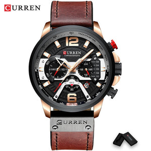 Open image in slideshow, CURREN 8329 Men's Rose Black Leather Top Luxury Wrist Watch with Military Leather Strap