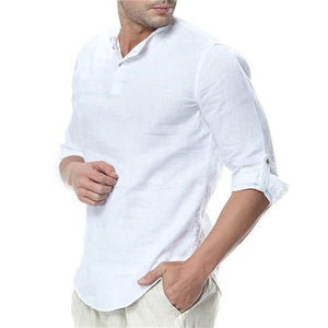 JDDTON 65 Men's White Comfortable Long Sleeve Shirts With Breathable Cotton Finish
