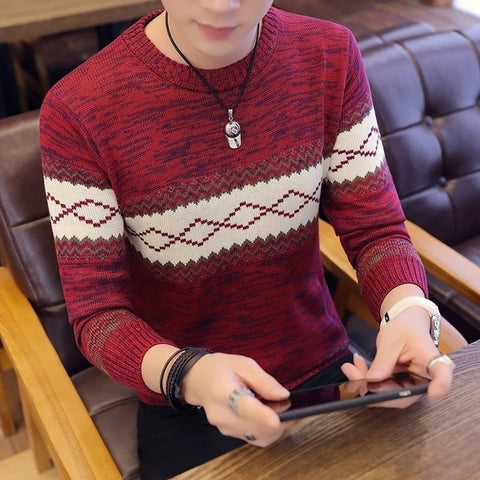 VARSANOL Men's Red  Korea Grey Sweater