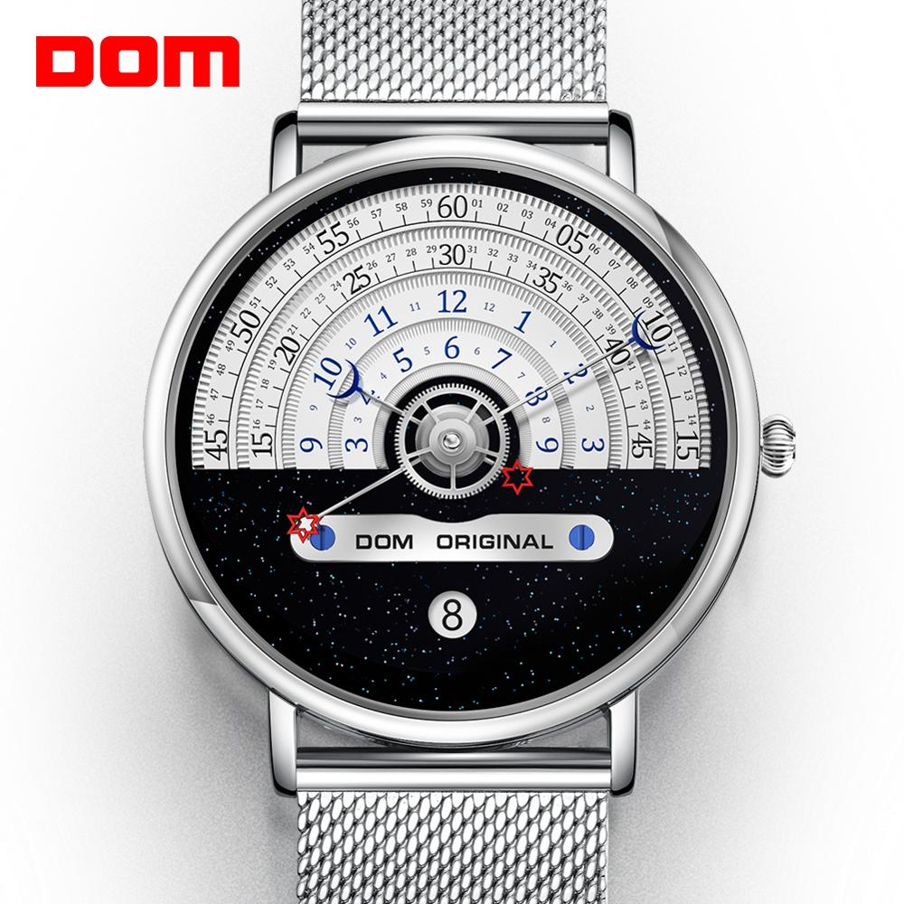 DOM M-1288 Men's Silver Wristwatch with Stainless Steel Clasp