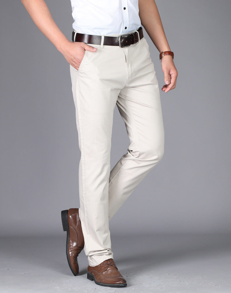 ZHAN A-class Men's Khaki Cotton Classic Formal Trousers