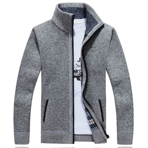 ZHAN DI JI PU Men's Light Gray Winter Cardigan Sweater