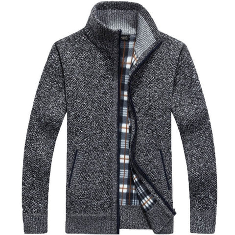 ZHAN DI JI PU Men's Deep Gray Winter Cardigan Sweater