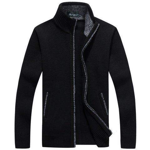 ZHAN DI JI PU Men's Black Winter Cardigan Sweater
