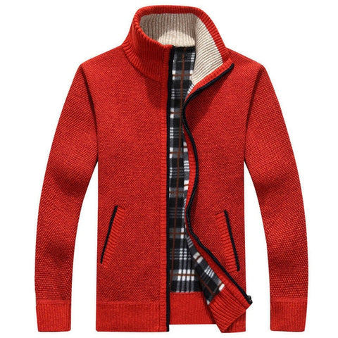 ZHAN DI JI PU Men's Orange Winter Cardigan Sweater