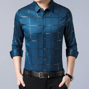 Open image in slideshow, ZLITTLELAZY 201 Men's Blue Plaid Long Sleeve Shirt With Cross-Pattern