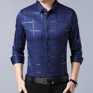 ZLITTLELAZY 201 Men's Deep Blue Plaid Long Sleeve Shirt With Cross-Pattern