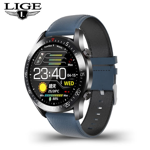 LIGE Men's Blue Electronic LED Watch