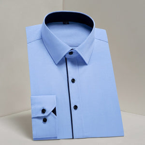 Open image in slideshow, DAVYDAISY DS Men's Sea Blue High Quality Broadcloth Long Sleeve Shirt