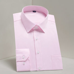 Open image in slideshow, DAVYDAISY DS Men's Salmon Pink High Quality Broadcloth Long Sleeve Shirt