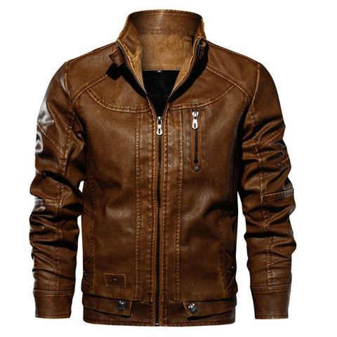 MUSLOTUS Men's Brown Motorcycle Leather Jacket
