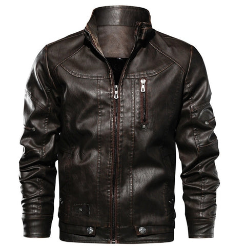 MUSLOTUS Men's Coffee Motorcycle Leather Jacket