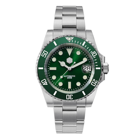 San Martin Men's Green Bracelet Diver Crystal Automatic Watch