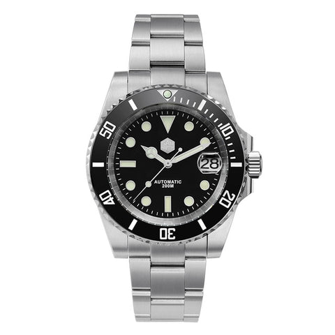 San Martin Men's Black Bracelet Diver Crystal Automatic Watch
