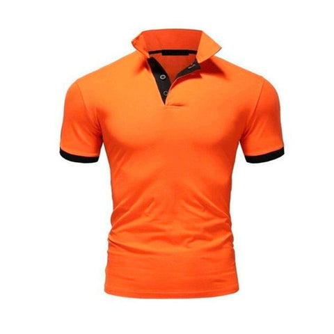 TJWLKJ  F19 Men's Orange Summer Short Sleeve Polo Shirt With Soft Fabric Finish