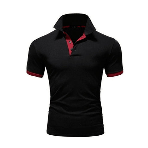 TJWLKJ F19 Men's Black Red Summer Short Sleeve Polo Shirt With Soft Fabric Finish