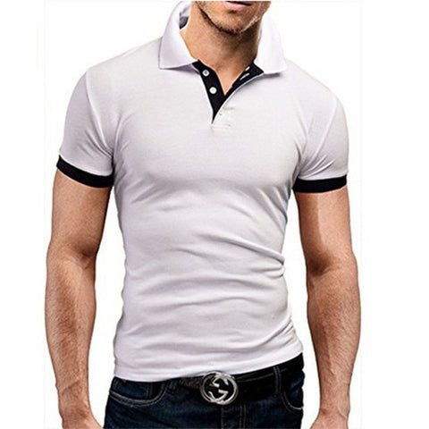 TJWLKJ  F19 Men's White Summer Short Sleeve Polo Shirt With Soft Fabric Finish