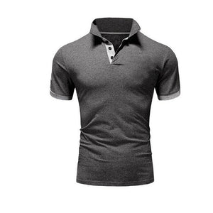 TJWLKJ  F19 Men's Dark Gray Summer Short Sleeve Polo Shirt With Soft Fabric Finish
