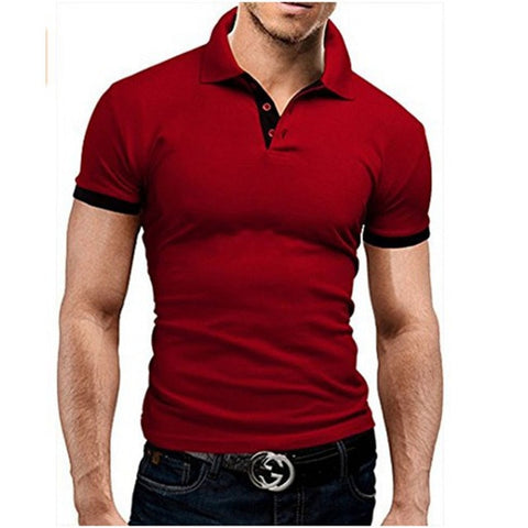 TJWLKJ  F19 Men's Red Summer Short Sleeve Polo Shirt With Soft Fabric Finish