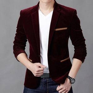 Open image in slideshow, GAOKE Luxury Men's Wine Red Cotton Classic Blazer