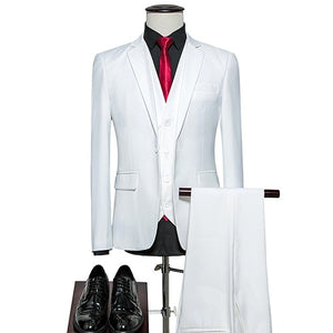 KING No.5 Men's Business Single Breasted 3 Piece White Suit With Cotton Comfort Finish
