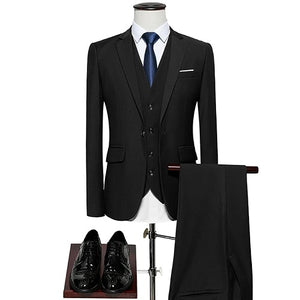 Open image in slideshow, KING No.5 Men's Business Single Breasted 3 Piece Black Suit With Cotton Comfort Finish