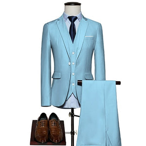 Open image in slideshow, KING No.5 Men's Business Single Breasted 3 Piece Sky Blue Suit With Cotton Comfort Finish
