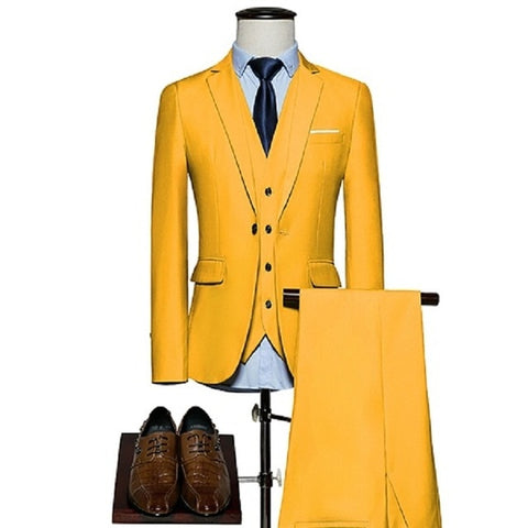 KING No.5 Men's Business Single Breasted 2 Piece Yellow Suit With Cotton Comfort Finish