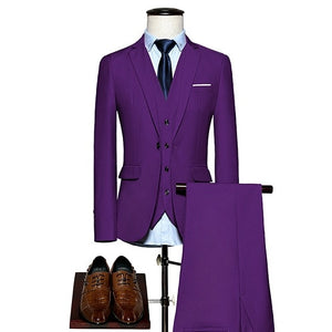 Open image in slideshow, KING No.5 Men's Business Single Breasted 3 Piece Violet Suit With Cotton Comfort Finish