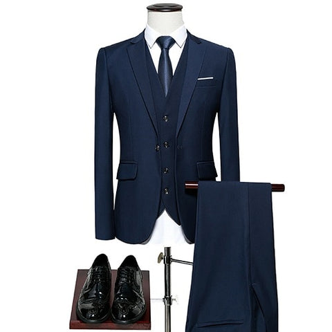 KING No.5 Men's Business Single Breasted 3 Pieces Navy Blue Suit With Cotton Comfort Finish