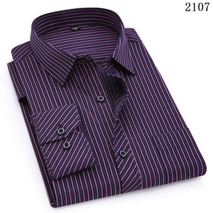 Open image in slideshow, QISHA  A-Class Men's Purple Turn-down Collar Long Sleeved Striped Shirt